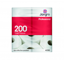 Jangro 200 sheet Twin Wrapped Toilet Roll