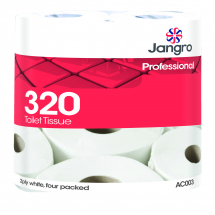 Jangro 320 sheet Twin Wrapped Toilet Roll