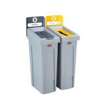 Slim Jim Recycling Station 2 Stream - Grey/Yellow