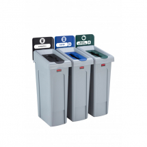 Slim Jim Recycling Station 3 Stream - Black/Blue/Green