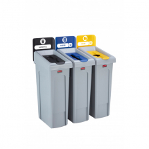 Slim Jim Recycling Station 3 Stream - Black/Blue/Yellow