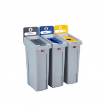 Slim Jim Recycling Station 3 Stream - Grey/Blue/Yellow