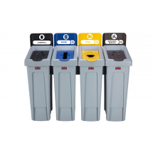 Slim Jim Recycling Station 4 Stream Black/Blue/Yellow/Brown