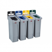 Slim Jim Recycling Station 4 Stream Black/Blue/Yellow/Green