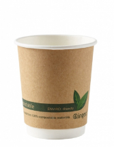 Kraft Compostable Double Wall Cups 8oz CTNx500
