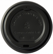 Compostable Black Domed Sip - Tru Lid 10-16oz CTNx1000