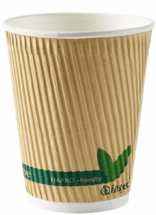 12oz Kraft Compostable Ripple Cup CTNx500