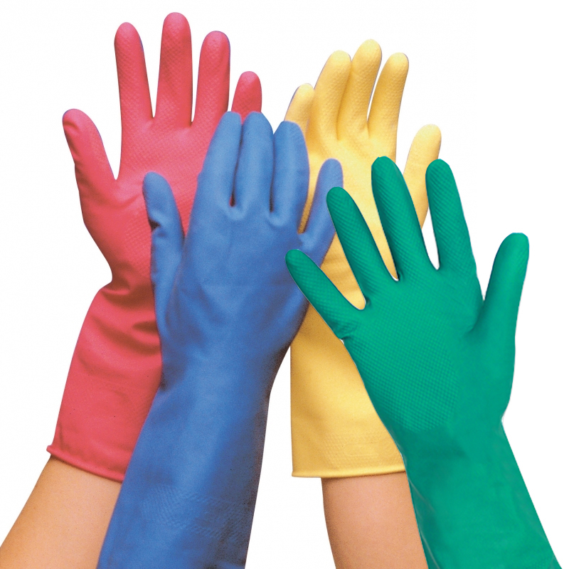 Household Rubber Gloves - Pink Medium 12 Pairs