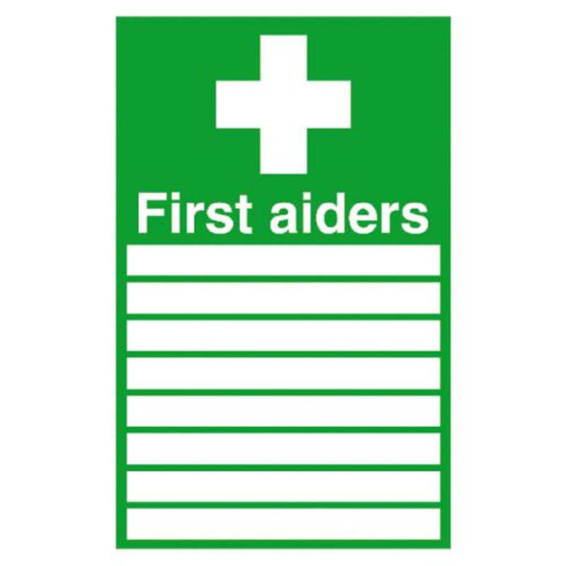 First Aiders (with spaces) and symbol 300x200 Rigid