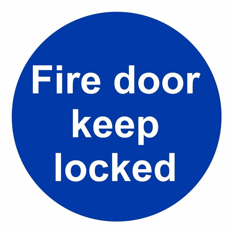 Fire Door Keep Locked 100 x 100mm S/A