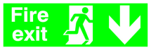 Fire Exit - Runningman Down S/A - 150x450mm