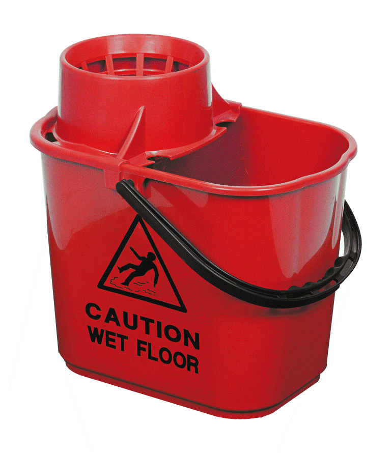 Excel Plastic Mop Bucket Wet Floor - Red
